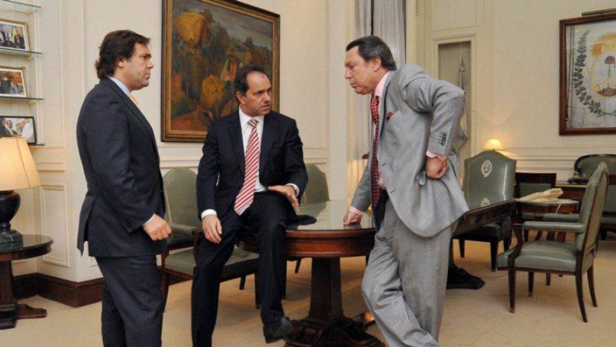 Daniel Scioli junto a Alberto Pérez y a Ricardo Casal