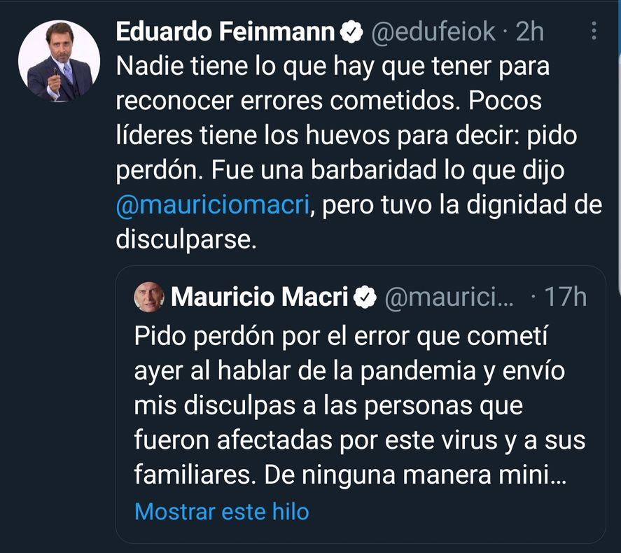 Feinmann decidió resaltar el pedido de disculpas de Macri para ver si podía recongraciarse con sus fans