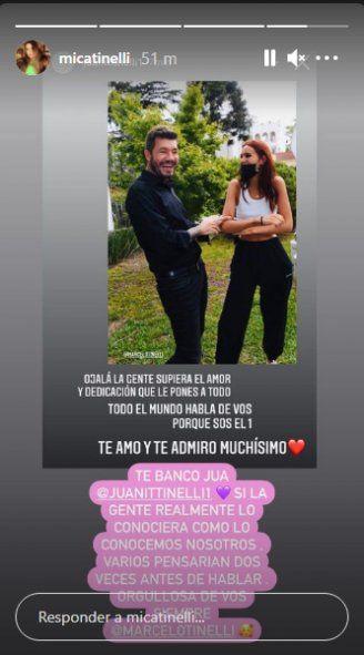 Mica Tinelli y Juana Tinelli respaldaron a su padre en las redes
