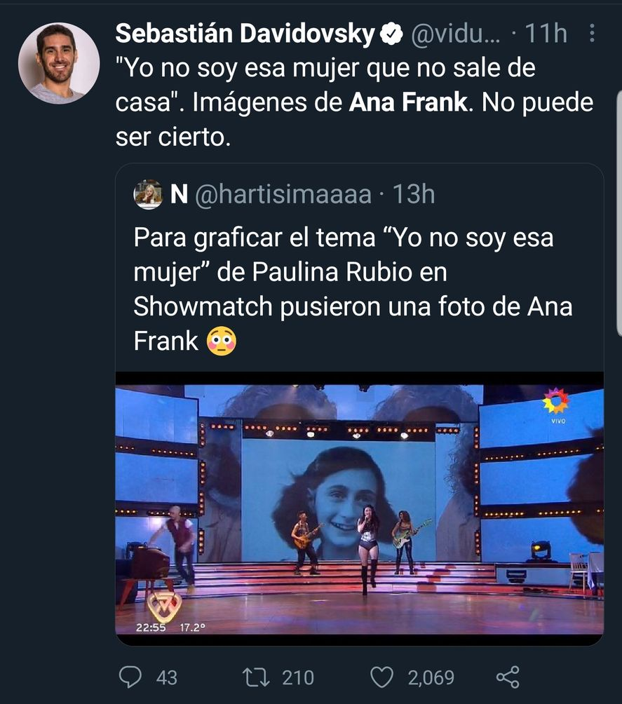 Las reacciones en redes frente a la inclusión de la imagen de Ana Frank en una coreografía de Showmatch de Marcelo Tinelli