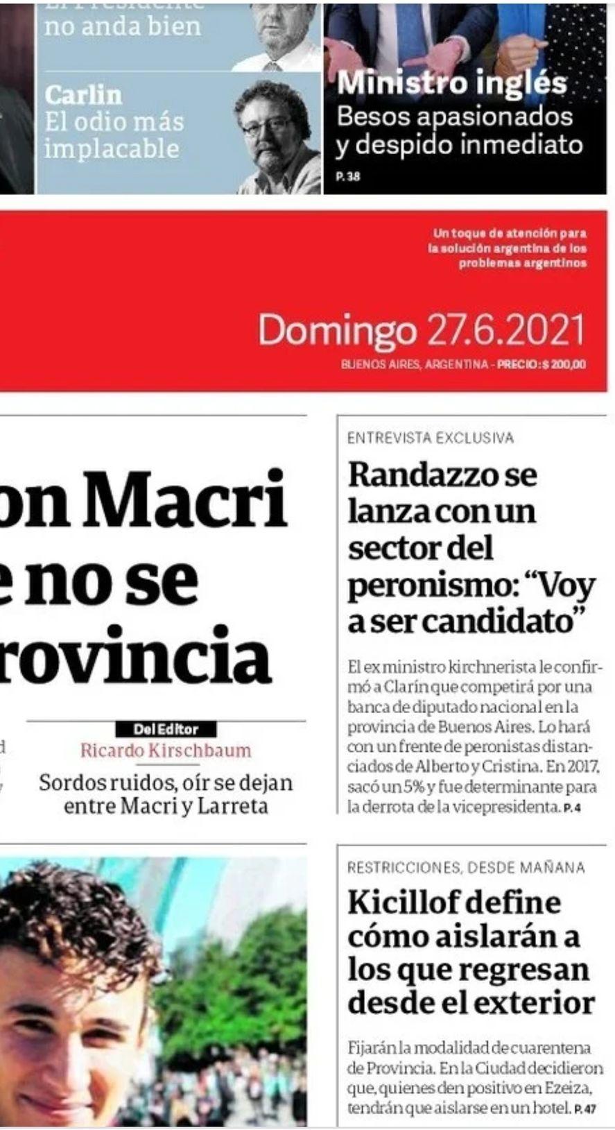 La tapa de Clarín de hoy refleja la candidatura a diputado nacional de Florencio Randazzo