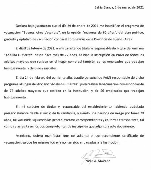La declaración de Nidia Moirano sobre cómo recibió la vacuna contra el coronavirus