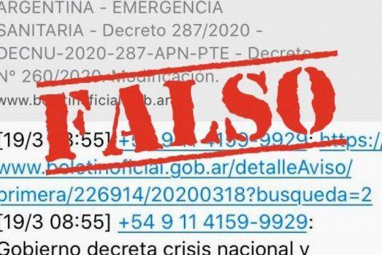 el gobierno advierte sobre un mensaje falso que circula por whatsapp sobre la cuarentena