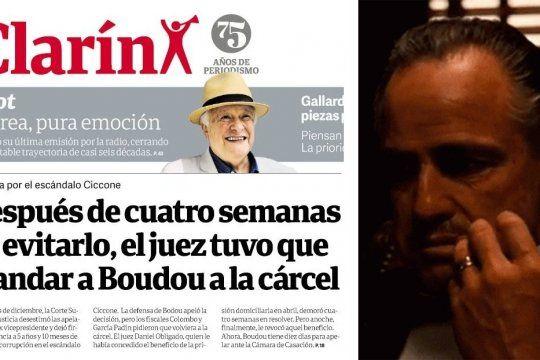 El original tweet que une la tapa del diario del gruoo Clarin de hoy con la cara de Don Corleone