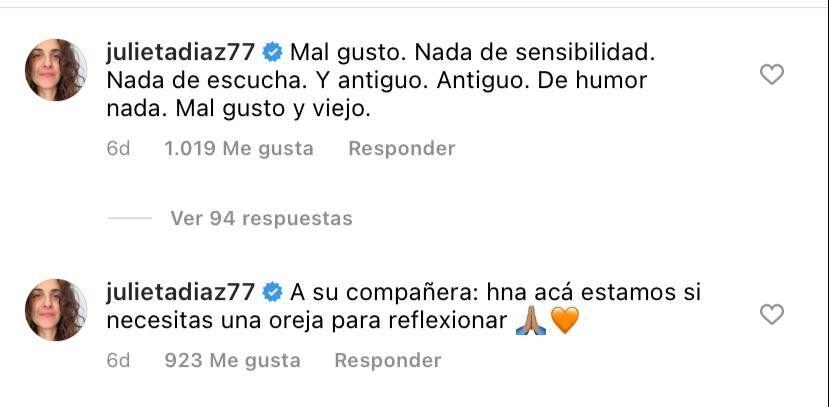 El comentario contundente de Julieta Díaz en el video de Listorti.