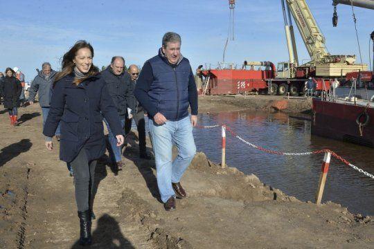 vidal y candidatos a legisladores recorrieron obras hidraulicas en la cuenca del rio saldo