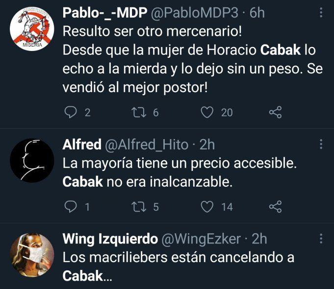 Los seguidores que idolatraban a Horacio Cabak comenzaron a cancelarlo por tener opiniones no tan críticas al gobierno y al presidente