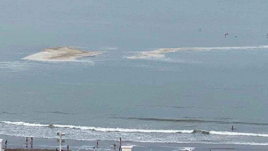 Mar del Plata vuelve a tener manchas marrones en el mar. Foto: La Capital