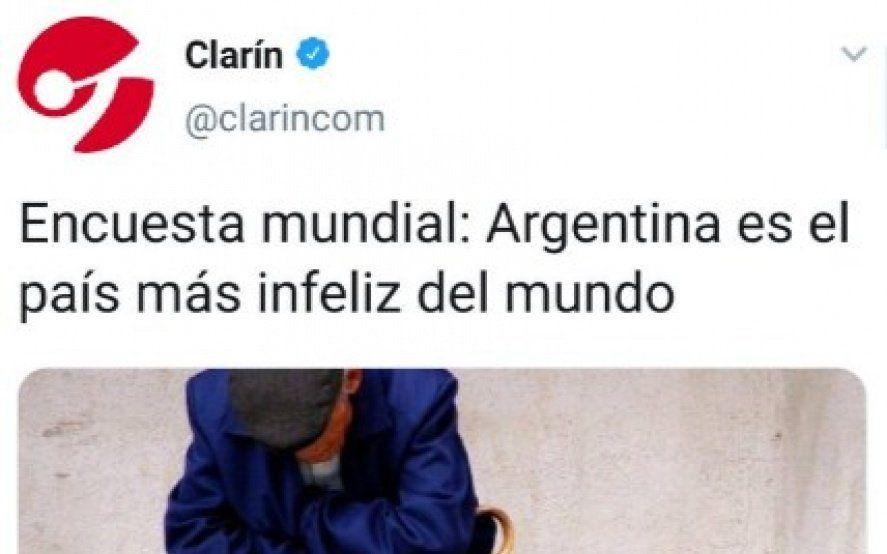"""El índice """"Clarín"""" de la felicidad: de celebrar un puesto 29, a ser el país más infeliz"""