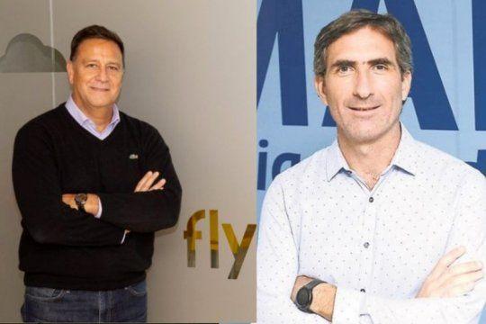 El actual presidente de Flybondi, Esteban Tossutti y el CEO de JetSmart, Gonzalo Pérez Corral
