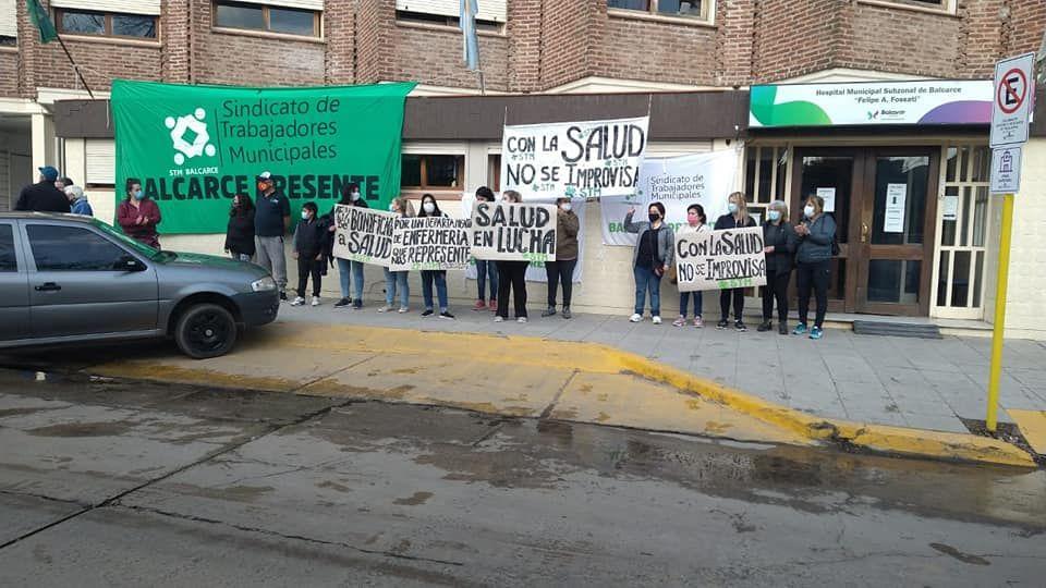 Protesta en el hospital del Sindicato de Trabajadores Municipales de Balcarce (Facebook STM Balcarce)