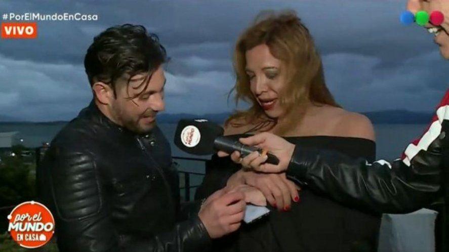 Leo Alturria sorprendió a Lizzy Tagliani con un anillo al aire de Por el mundo en casa