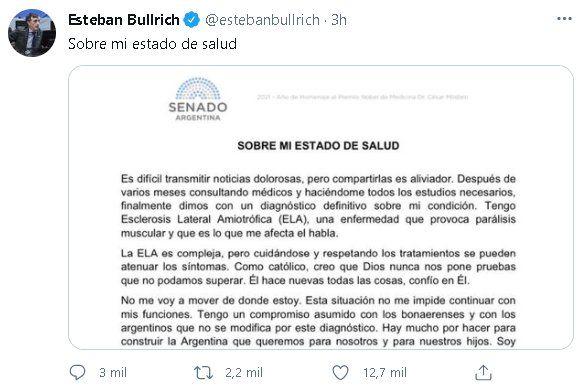 Esteban Bullrich compartió el comunicado en el que confirma su enfermedad vía Twitter