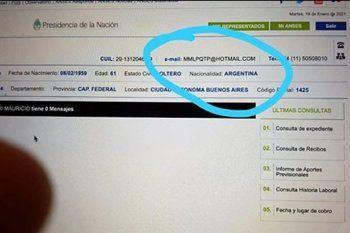 Así quedaron los datos de la cuenta de Macri en el Anses según esta foto a la pantalla