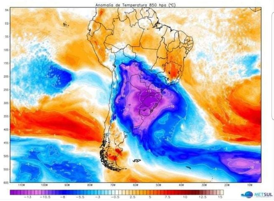 Los mapas meteorológicos indican una ola polar en el sur de Brasil que podría afectar a varias provincias argentinas con temperaturas de 10° bajo cero