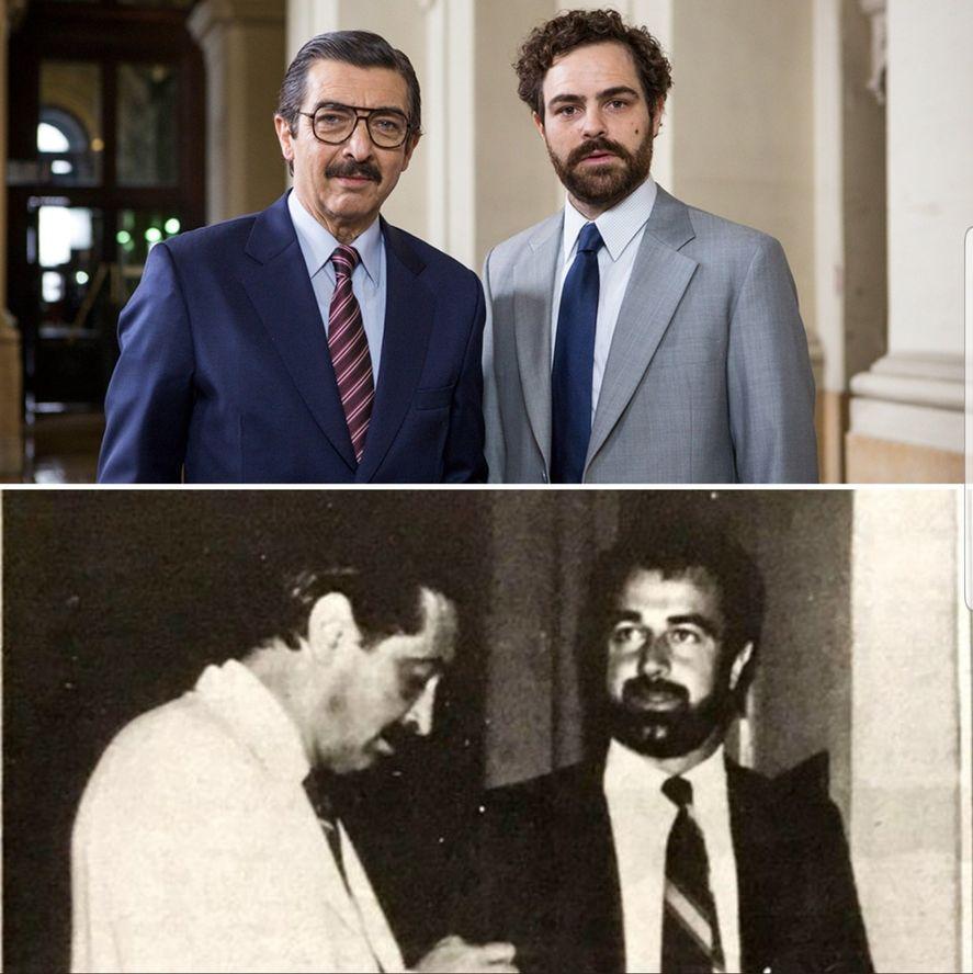 Ricardo Darín y Peter Lanzani en los roles de los fiscales Julio César Strassera y Luis Moreno Ocampo, caracterizados para el film