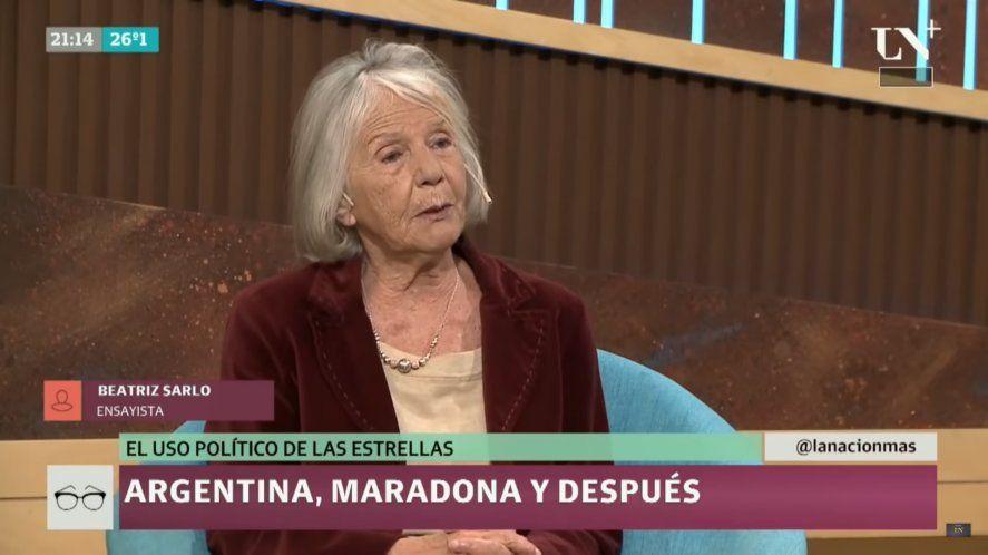 Beatriz Sarlo invalidó las opiniones políticas de Maradona