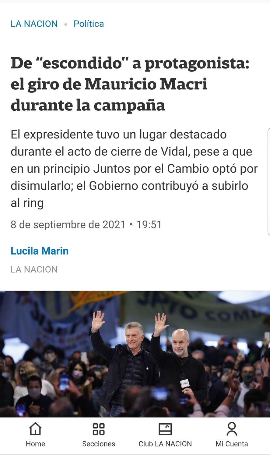 El diario La Nación y una mirada muy diferente acerca de la participación que le dio Horacio Rodríguez Larreta a Macri, en el acto de cierre de campaña de Juntos por el Cambio