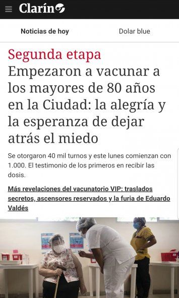 Clarín eligió las palabras Alegría y Esperanza para referirse a mil vacunaciones en CABA