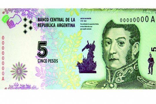 adios a san martin: los billetes de 5 pesos ya pueden cambiarse o acreditarse en los bancos