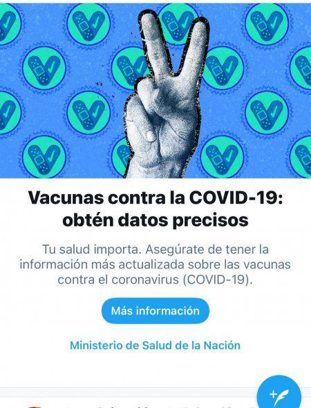 Imagen de la campaña de Twitter en el marco de la Semana de la Vacunación