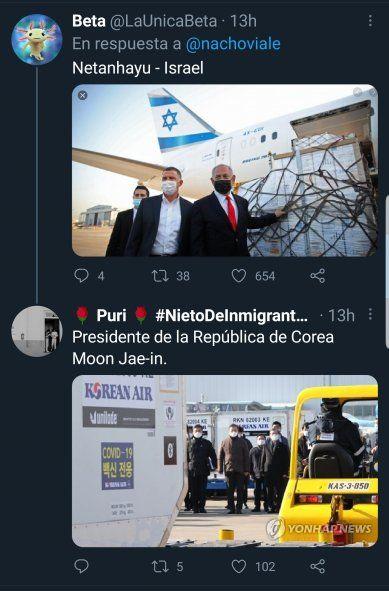 Tanto en Israel como en Corea, sus líderes fueron al aeropuerto a recibir vacunas como lo hizo el presidente Fernández. Nacho Viale no lo sabía cuando quiso hacerle bullying y quedó pagando