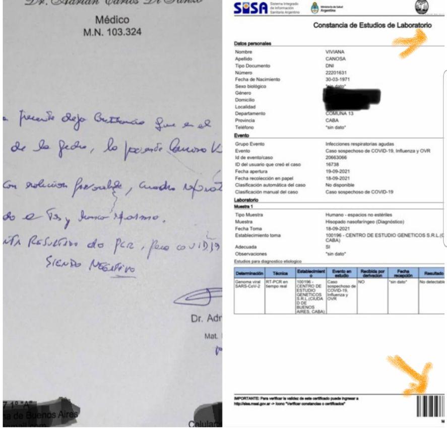 Tanto el certificado PCR como la prescripción médica que publicó Viviana Canosa están cercenados en su imagen total. A la constancia del SISA le falta el código de verificación que debería aparecer en dos lugares de la hoja (como muestra la imagen). Aquí