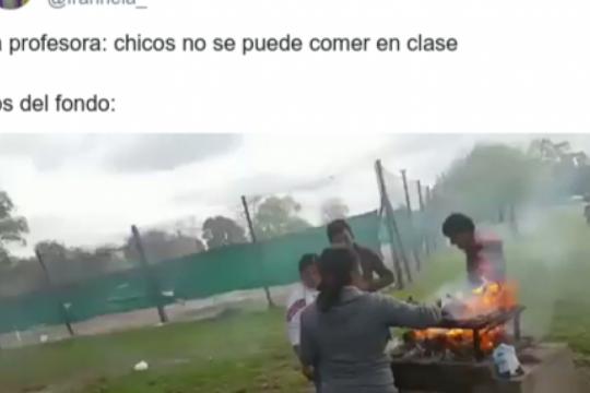 ?chicos no se puede comer en clase..?: el meme de los del fondo que es furor en las redes