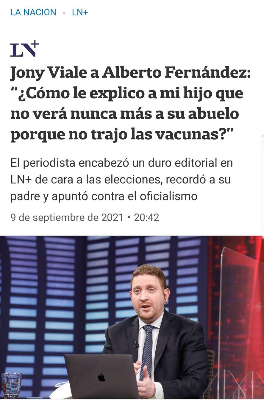 El titular del diario La Nación replicando la falaz chicana de Jonatan Viale a Alberto Fernández, culpándolo por la muerte de su padre Mauro