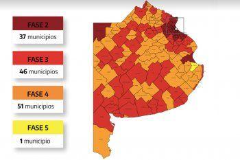 Coronavirus: el nuevo mapa de fases en la Provincia