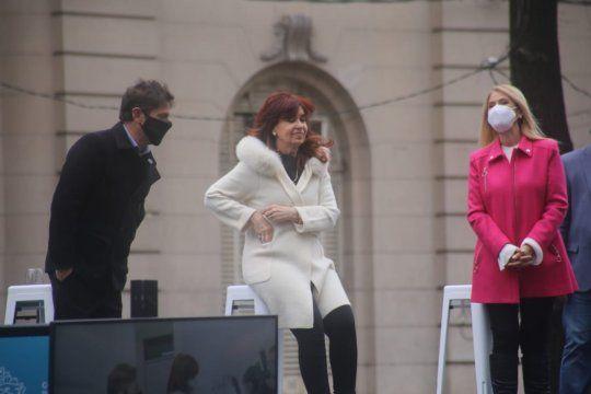 Axel Kicillof, Cristina Fernández de Kirchner y Verónica Magario en el Hospital de Niños de La Plata.