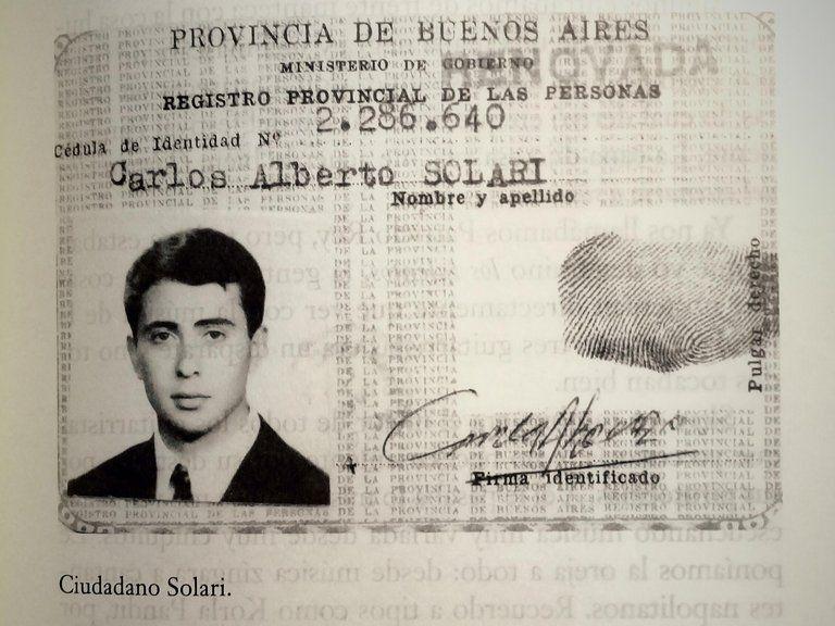 Cédula de identidad de Carlos Indio Solari