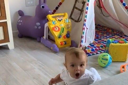 el tierno video que publico benjamin rojas en sus redes: su hija lo vio por primera vez en television