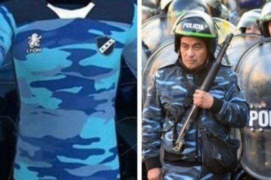 inedito: los hinchas de alvarado hicieron bajar una camiseta por llevar los colores de la policia