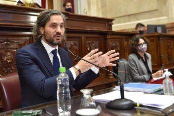 Santiago Cafiero brinda un informe de gestión en la Cámara de Senadores del Congreso de la Nación.