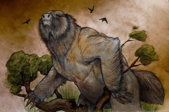 Reconstrucción del Megaterio, el fósil hallado en la localidad bonaerense de Miramar. Por Sebastián Rozadilla