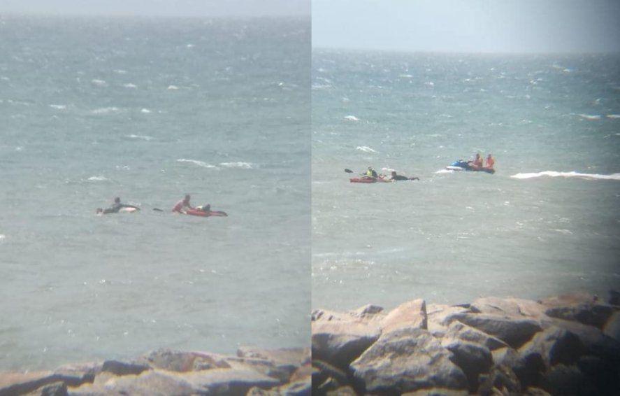 El kayakista no podía volver a subirse a la embarcación