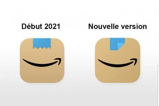 A la izquierda el logo inaugurado a principios de año por Amazon, a la derecha su actual modificación para que no se asemeje al bigotito de Hitler